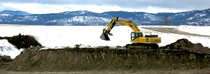 Excavator sitting in the snow
