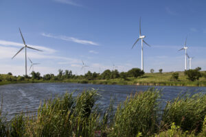 windmills in a middow near a lake
