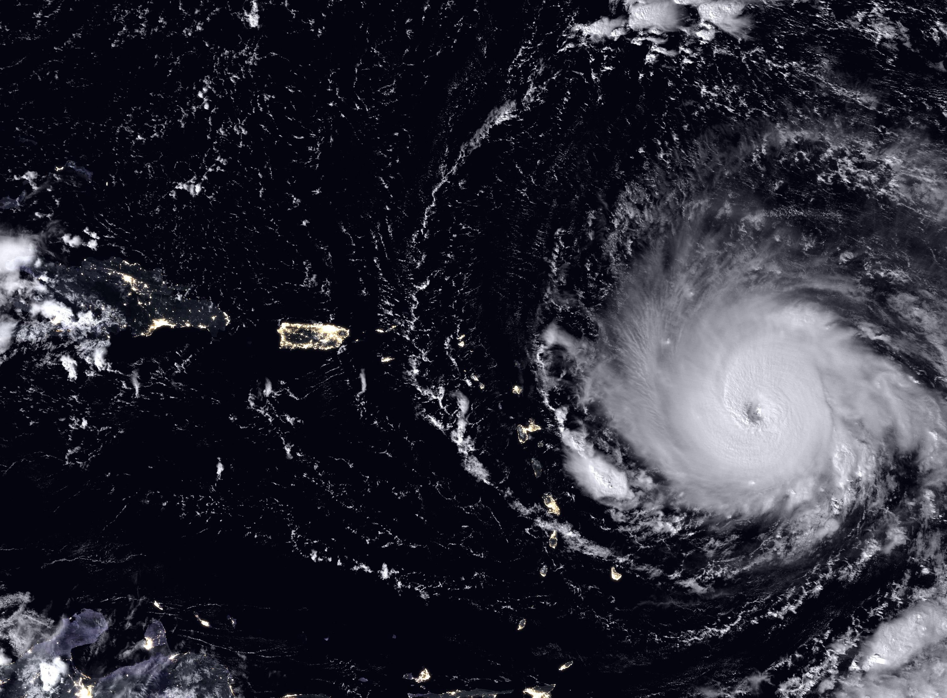 Boat headed towards a hurricane
