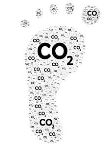 CO2 text shaped like a footprint