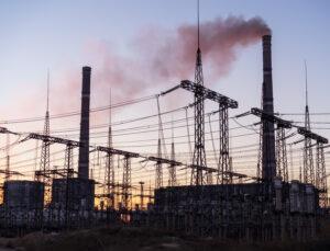 Power plant with grey smoke